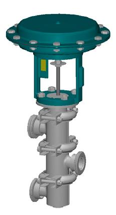Тип 1500 AD/AR -трехходовой распределительный клапан с пневмоприводом-гигиеническое исполнение- серия HYGIENIC